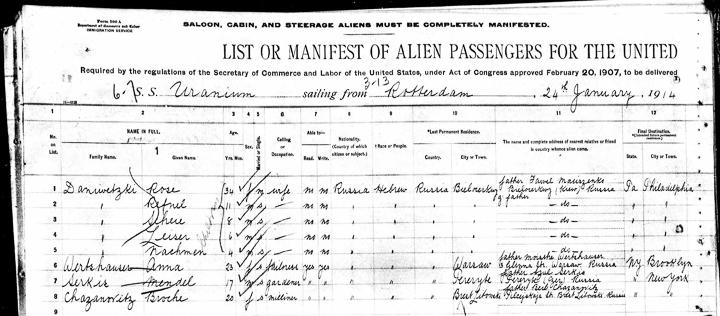 1914 Max Serkes passenger Uranium list 1